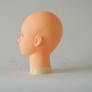 Image 4 - 55cm cabeça de manequim careca com suporte de mesa preta cabeça de maniqui fêmea para peruca que faz o chapéu exibição manequim peruca suporte com cabeça