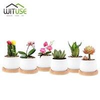WITUSE Forniture Giardino di Casa Bianco Creamic Vaso Vasi di Fiori Con Vassoi di Bambù Piccolo Tondo In Ceramica Fioriera Bonsai Pot Per Succulente