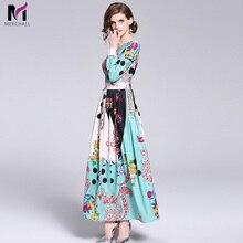 Merchall Autumn Floral Print Maxi Dress Women Runway Designers 2018 Long Party Vestido Longo Robe Longue