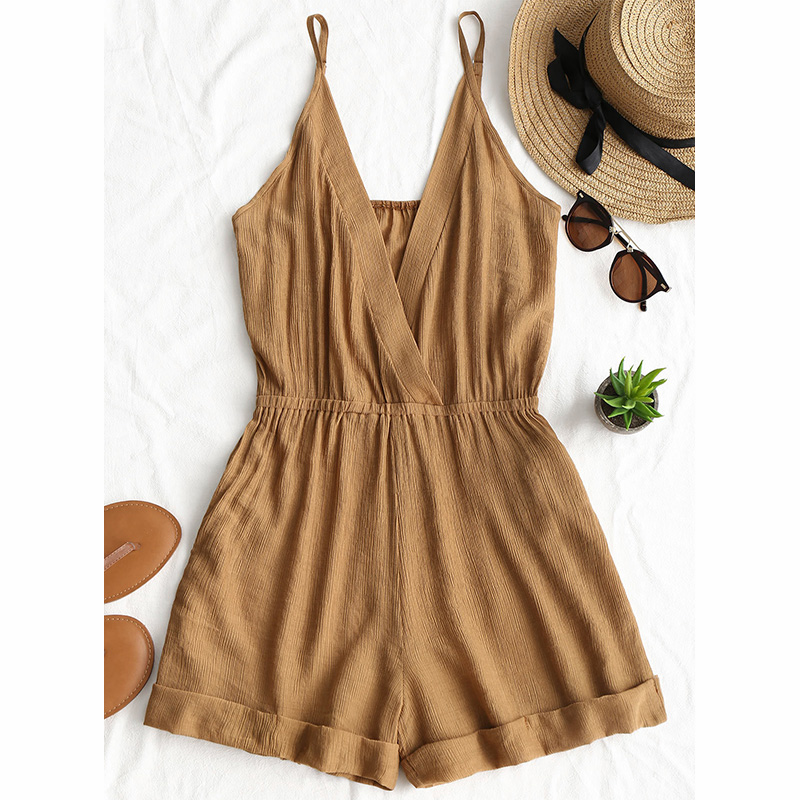 Cross Front Rolled Up Hem Romper Women Rompers Solid   Jumpsuit   Summer Short Overalls   Jumpsuit   Female Girl Cotton Playsuit