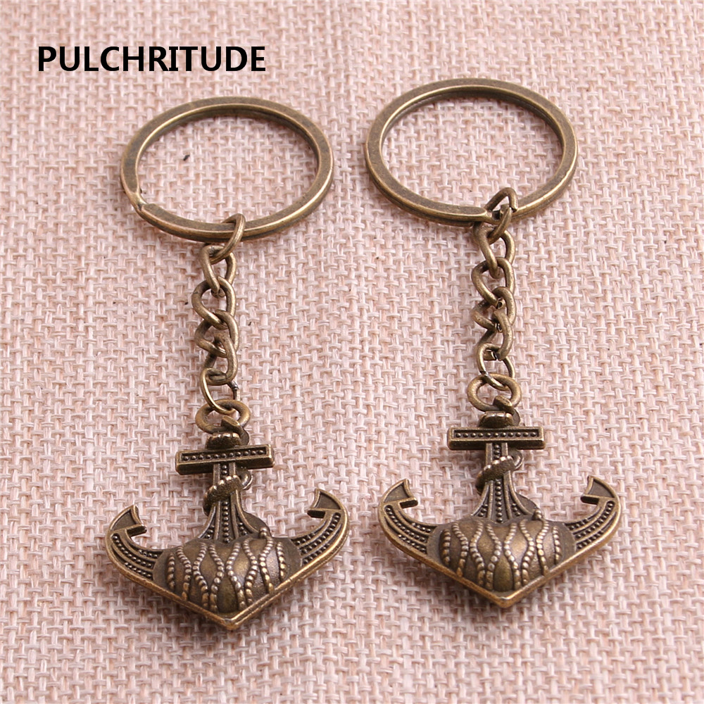 PULCHRITUDE Metal Alloy Zinc Antiqeu Silver Fashion 4pcslot Anchor Pendant Charm Key Chain Diy Jewelry Making C1272