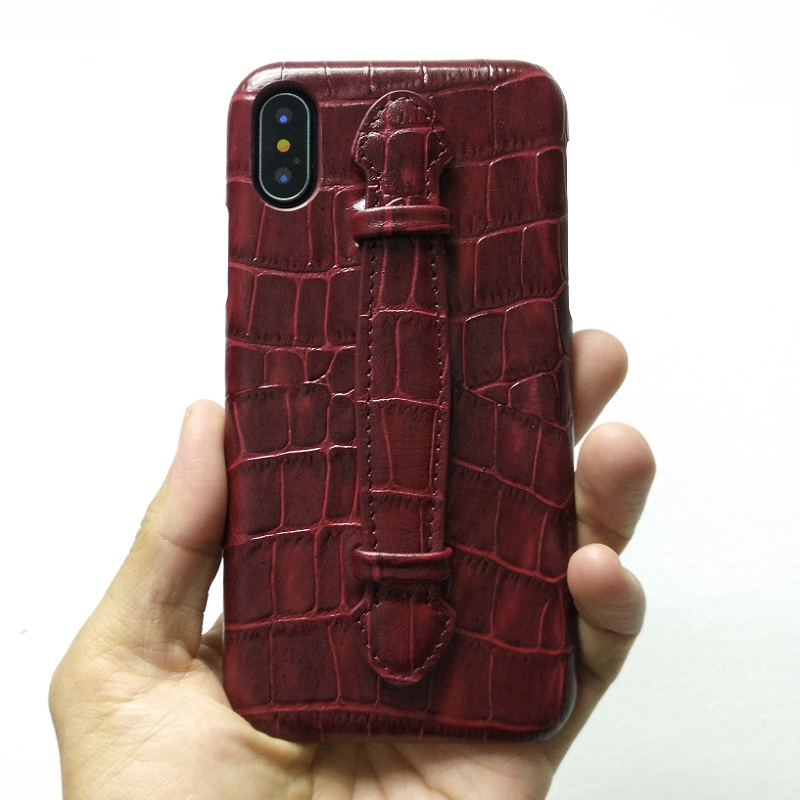 Genuine Leather Hand Strap Holder Case For iPhone X XS Max XR 7 8 Plus Phone Luxury Crocodile Ultra Thin Slim Hard Cover MaroonGenuine Leather Hand Strap Holder Case For iPhone X XS Max XR 7 8 Plus Phone Luxury Crocodile Ultra Thin Slim Hard Cover Maroon
