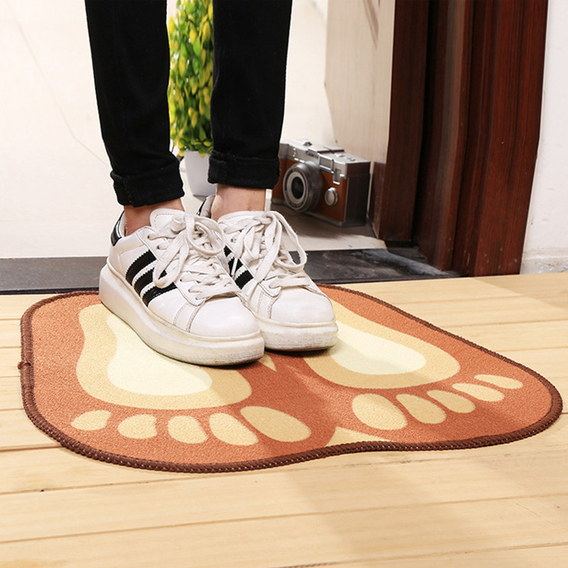 4 50cm Fashion Cartoon Orange Rugs Cute Footprints Feet Bath Mat For Kid Room