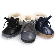 Winter Newborn First Walkers Baby Girls Kids Boots Warm PU Leather Fleece Snowfield Lace-Up Booty