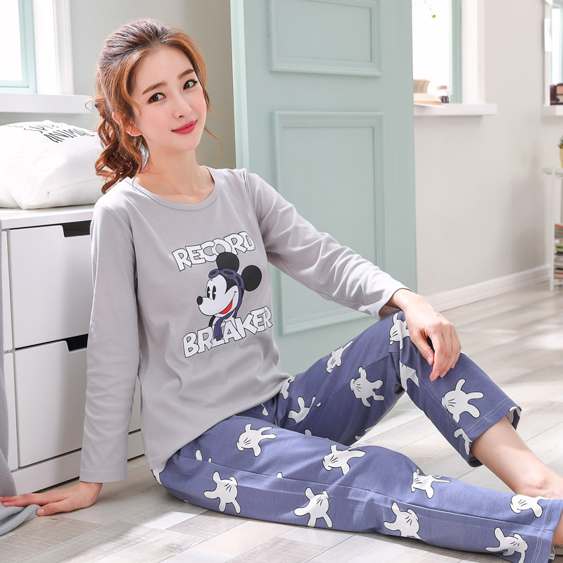 2019 Women Pajamas Sets Autumn Winter New Women Pyjamas Cotton Clothing Long Tops Set Female Pyjamas Sets NightSuit Mother Sleep 126