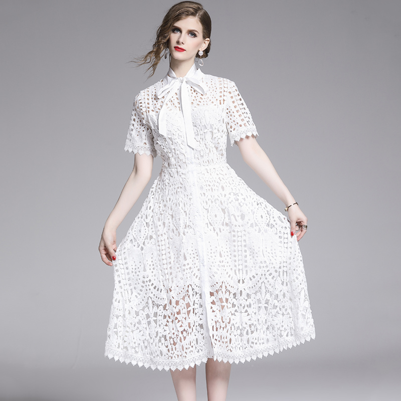 Elegant White Black Lace Hollow Out Dress 6
