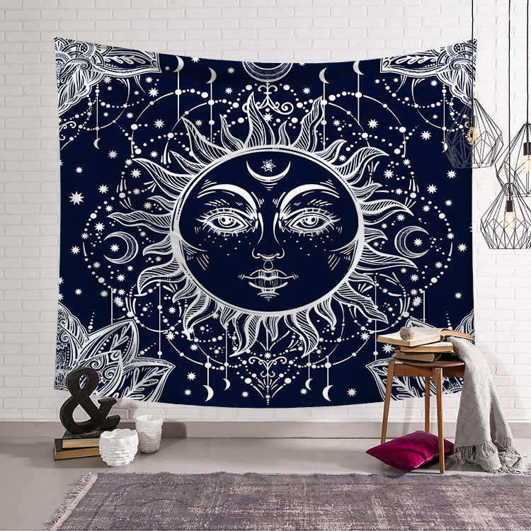 CAMMITEVER Psychedelic Celestial Indian Sun and Moon Hippie Hippy Tapestry Wall Hanging Throw Tie Dye Hippie Hippy Boho Bohemian