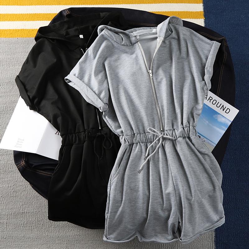 cotton  bodysuit Short sleeve deep v hoodies gray casual fashion Body  2019 Jumpsuit summer Romper