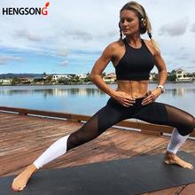 Hot Women Leggings Net Yarn Splicing Color Women Leggins Yoga Pants Capri Breathable Mesh Sexy Female