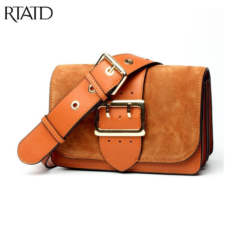 RTATD New genuine leather women faux suede design lady patchwork handbag girls good quality cross body bags female bag B062 double criss cross bandages faux suede skirt