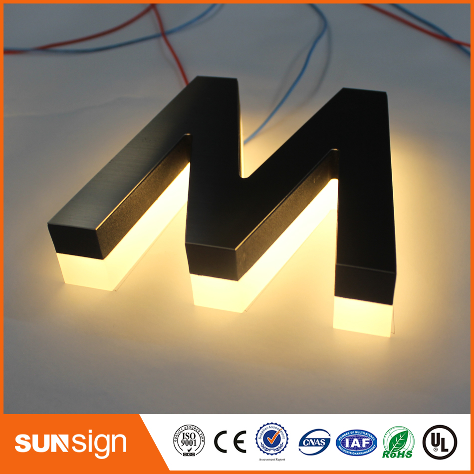 Discreet Stainless Steel Warm White Led Back Lighting Advertising Letters A Wide Selection Of Colours And Designs