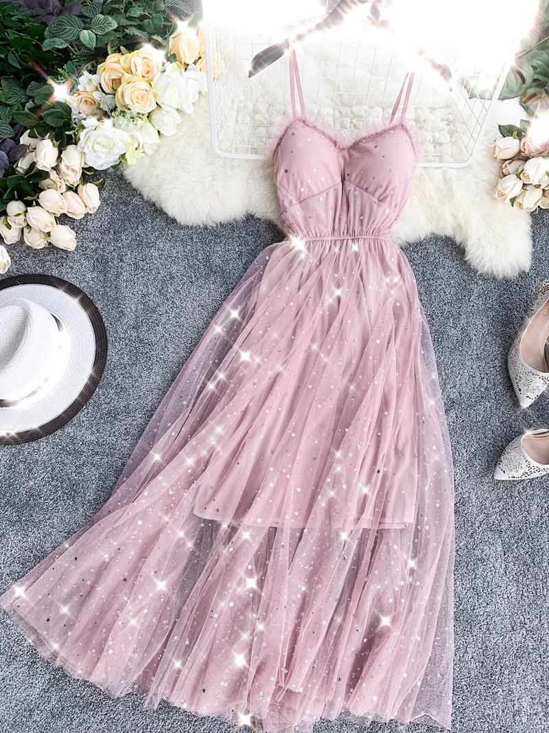Sequins V-Neck Gauze Ruffles Mesh A-Line Dress 8
