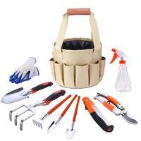 10PCS/SET Garden Kit Gloves Rake Fork Pickaxe Spade Shovel Knife Water Spray Bottle Garden Tool Set With Bucket Organizer Bag J3