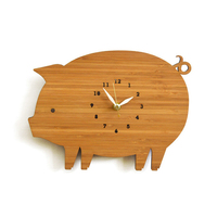 Animal Wall Clock Wooden Modern Design Decorative Kids Room Cute Pig Unique Watch Wall Clocks Home Decor Silent 3D Stickers