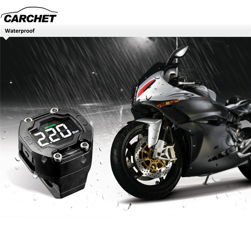 CARCHET ET-900AE DIY Motorcycle TPMS Tire Pressure Monitor Motorcycle Alarm System with External Sensor Wireless LCD Display steelmate motorcycle tpms tire pressure monitor motorcycle alarm system waterproof external sensor wireless lcd display