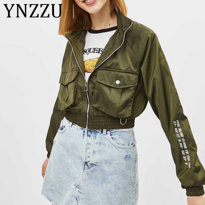 YNZZU Chic Letter Print   Basic     Jacket   Coat Autumn 2018 Street Army Green Pink Female   Jacket   Women Zipper Pockets Outwear A1064