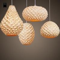 Ручной работы ремесло бамбука плетеная из ротанга Фонари абажур подвесной светильник Азиатский Японии лампы abajour Освещение ресторан бар