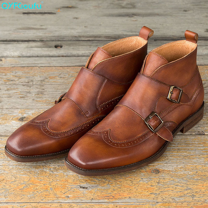 QYFCIOUFU Luxury Genuine Leather Business Double Monk Strap Martins Boots Men Fashion High-end British Vintage Chelsea BootsQYFCIOUFU Luxury Genuine Leather Business Double Monk Strap Martins Boots Men Fashion High-end British Vintage Chelsea Boots