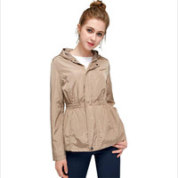 2018 autumn new hooded waist short section was thin long sleeved waterproof jacket cardigan women