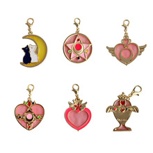 SANSUMMER 2019 New Style Fashion Alloy Dripping Oil Fashionable Pink Love Wing Moon Cat Key Ring Key Link Box Bag Hanger 5105 цена