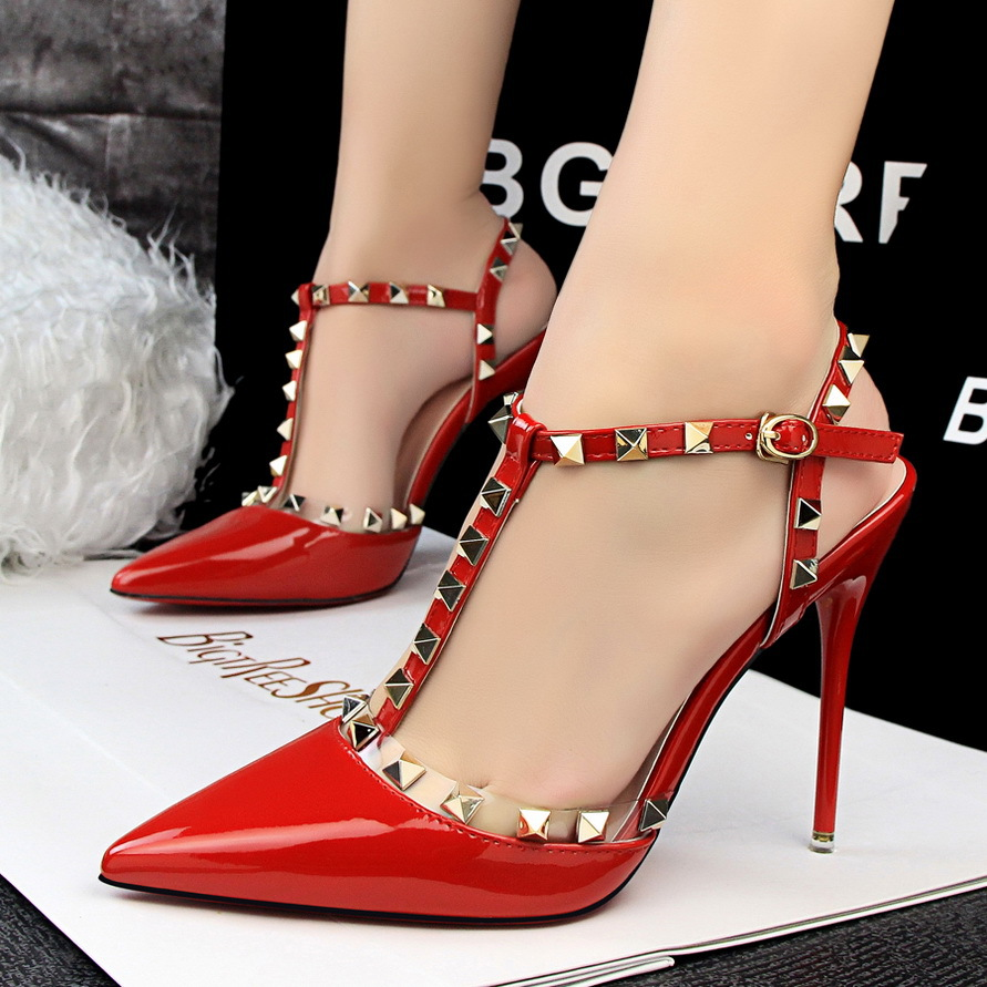 ФОТО Size 34-39 Super High Heel 11.5CM Point Toe Dress Shoes Buckle High Heels Women Sexy Shoes Woman Rivets Pumps Strap Sandals B076