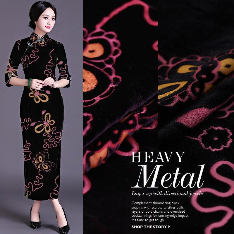 Autumn And Winter Models Silk Hollow Burnt-out Velvet Fabric Silk Velvet Fabric Cheongsam Skirt Fabric High-end Clothing Cloth