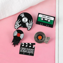 Music And Video Collection Crews Clapperboard Clap-stick Vinyl Record Player Tape Turntable Record DJ Enamel Brooch Pin For Gift(China)