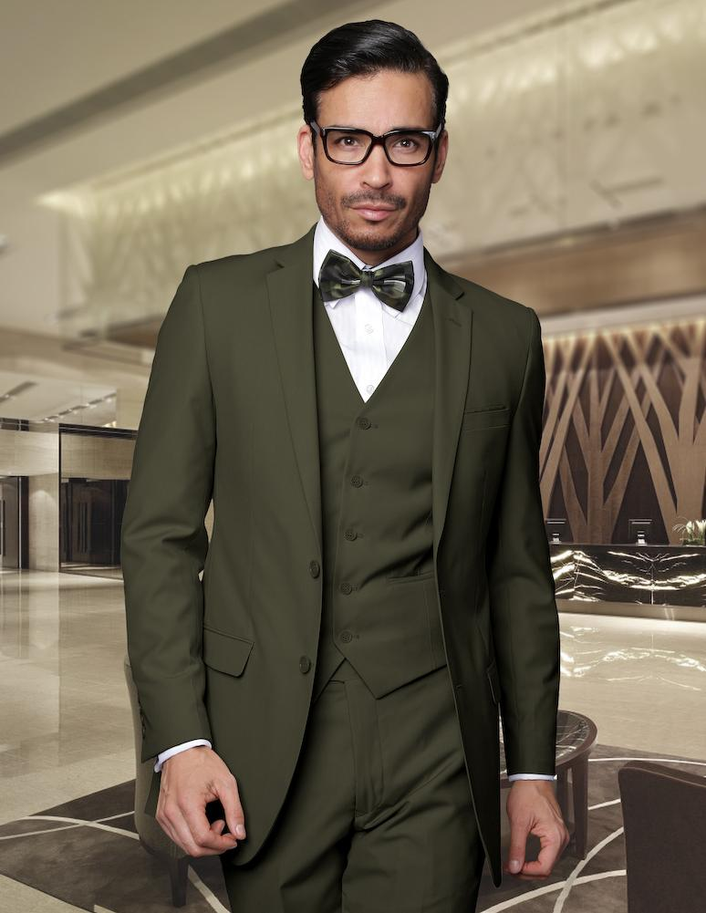 Handsome Army Green Groom Tuxedos Blazer Groomsmen Men's Prom Cothing Business Suits (Jacket+Pants+Vest+ Tie) NO:257