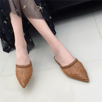 Women's Pointed Low Heel Slippers NIUFUNI Summer Cane Woven Rattan Grass Sandals Beach Shoes Women's Slippers Flat Shoes Slides 5