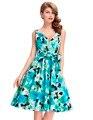 Лето Dress Женщины Vestidos 50 s Старинные Платья Плюс Размер Контактный до Качели Цветочным Принтом Одеяние Sexy V-образным Вырезом Ретро Случайный Участник платья