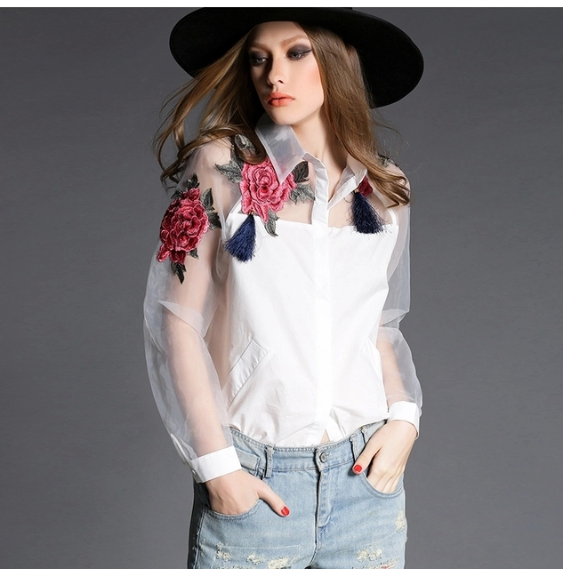 54d68e50742e92 White Shirt Women 2018 Spring Vintage Ethnic Floral Embroidery Sheer Organza  Patchwork Long Sleeve Shirt Black 2117