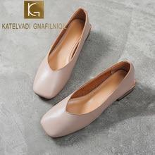KATELVADI Women Pumps Big Size 10 Square Heel Khaki Square Toe Comfortable Casual Woman Shoes Elegant Shallow Ladies Shoes K-424
