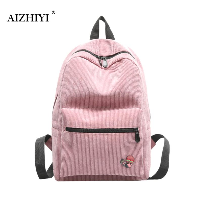 Brief Vintage Women Backpack Simple Solid Corduroy School Backpacks For Teenage Girls Casual Travel Daypack Mochila Rucksack Bag women backpack large school bags for teenage girls shoulder bag vintage pu leather backpacks black casual solid rucksack xa83h