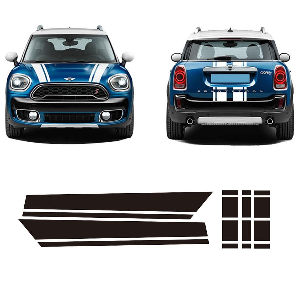 Bonnet stripe graphics sticker hood trunk rear decal stickers for mini cooper s countryman f60 2017