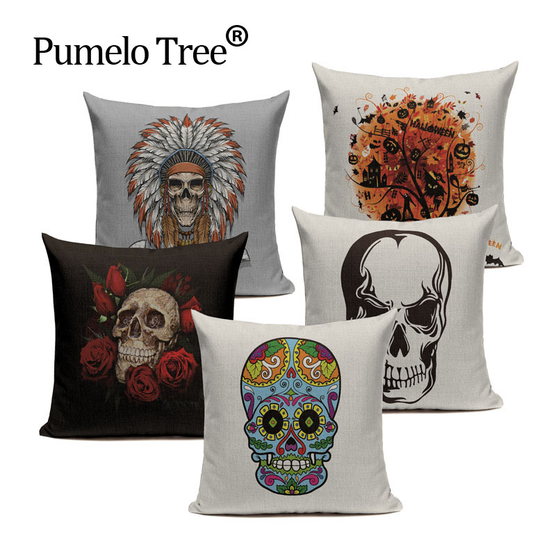 Flower Punk Style Mexico Skull Cotton Linen Cushion Cover Chair Seat and Back Square Pillowcase Home Garden Decor Love & Life ...