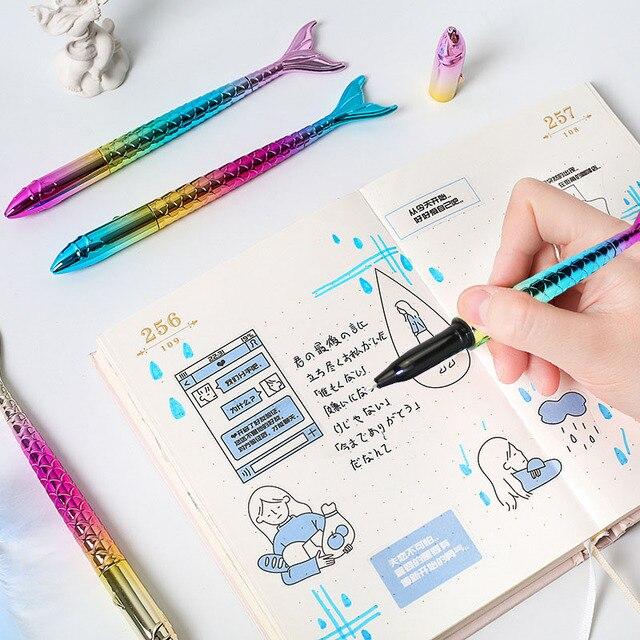 1Pc Creative Gradient Ballpoint Pen Kawaii Cute Mermaid Pen Novelty Ball Pen For Kids Gifts School Office Stationery Supplies 4