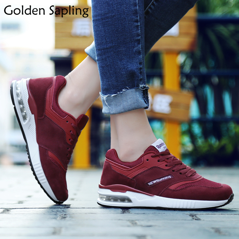 Golden Sapling Women's Sneakers Woman Sports Shoes Breathable Leather Fabric Sneakers Women Air Cushion Lace Women's Sport Shoes цена