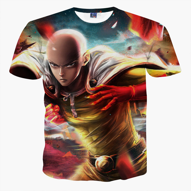 2016 Newest Design One Punch Man 3d T shirts Fashion Summer Anime Printing Men's Hipster Short Sleeve Cool Tee Shirts Tops