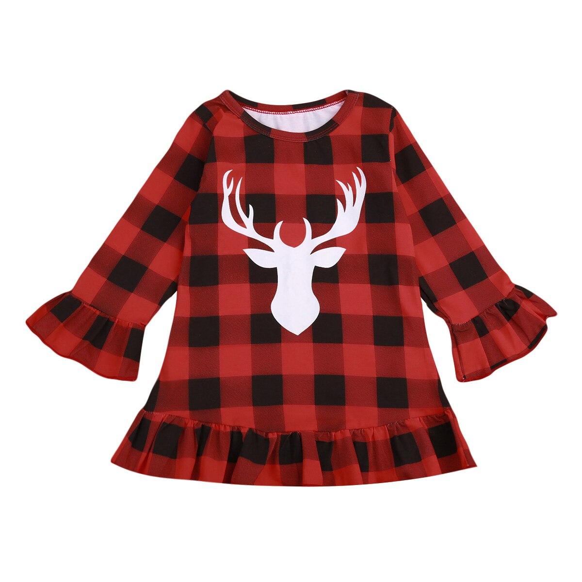 Осень-зима плед олень детское платье для Штаны для девочек с рождественским изображением одежда на Новый год детское платье с длинным рукав...
