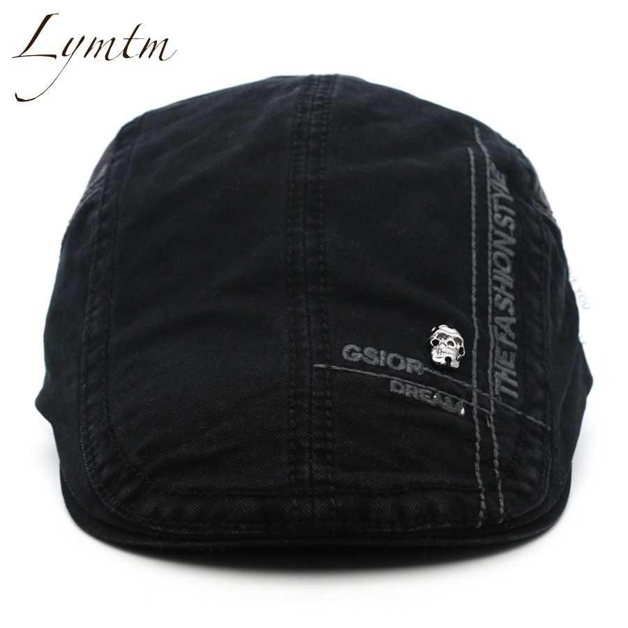 27bb3ad2a [Lymtm] Men Cotton British Letter Embroidery Cabbie Hats Men's Solid  Adjustable Newsboy Cap 5 Colors