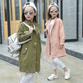 2017 Spring Baby Girl Fashion Trench Solid Color Kid Long Jacket O-neck Letter Embroidery Children Single-breasted Wind Breaker