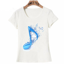 def49560 Beautiful Musical Note Art T-Shirt Summer Cute Women T-shirt Elegant Blue  Notes Design T Shirt Tops Fashion Female Casual Tees