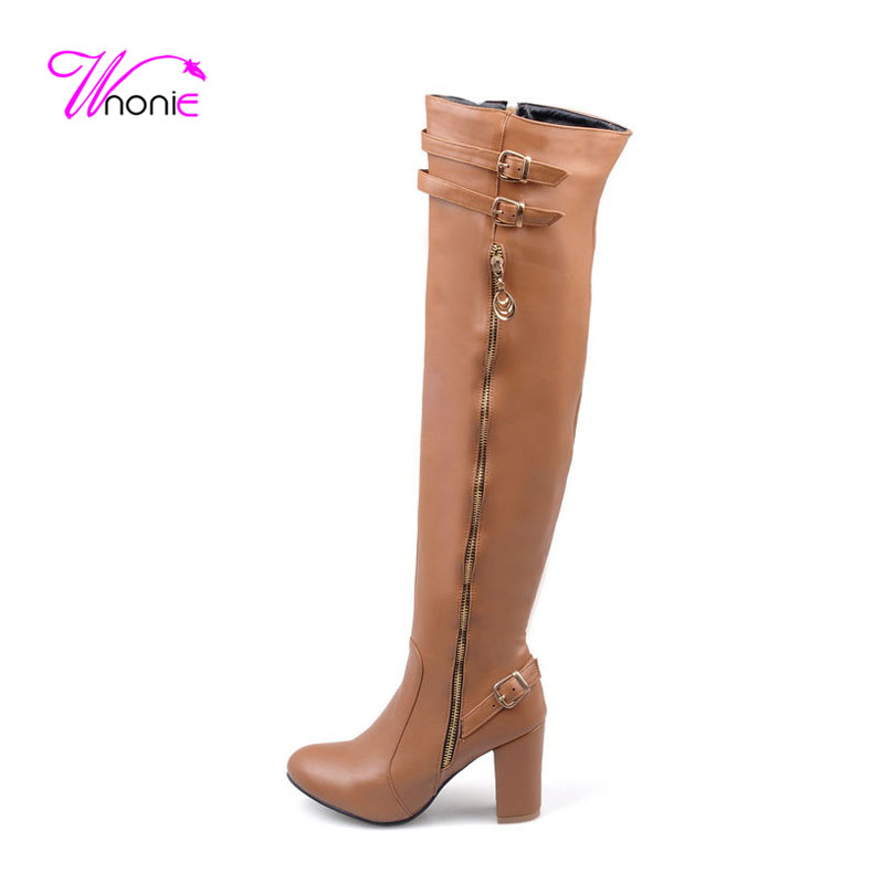 ФОТО 2017 Fashion Woman Long Boots Thigh High Boot Square Heel Round-toe PU Leather Buckle Plush Dress Party Sexy Winter Ladies Shoes