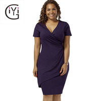 GIYI Plus Size 5XL Overlap Tight Surplice Work Wear Dress Women Shorrt Sleeve V Neck Office