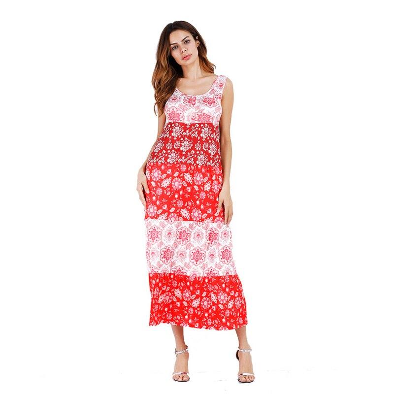 Red Boho Maxi Dress Office Beach Print Empire Sleeveless O Neck Linen Tunic Dresses Robe Boho Beauty Women Clothes Wholesale