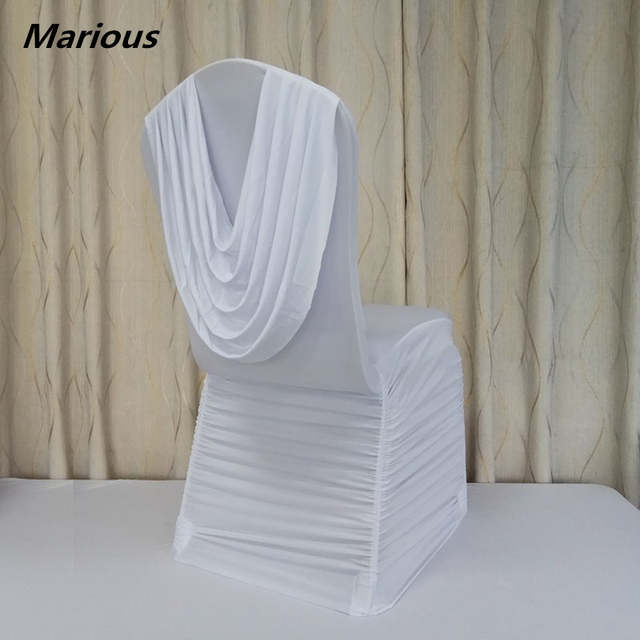 Charistmas Ruffled Wedding Elegant Chair Covers With Drape In Back