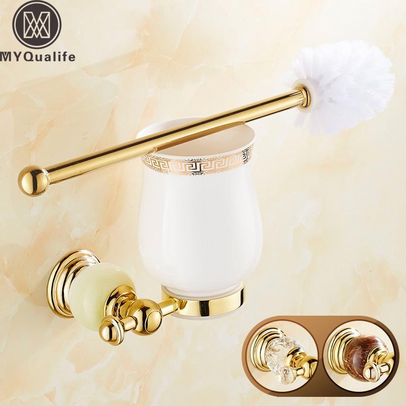 Crystal and Jade Golden Brass Ceramic Toilet Brush Holder Wall Mounted Brass Bathroom Holder Shelf newly wall mounted crystal style holder white ceramic cup white toilet brush gold finish