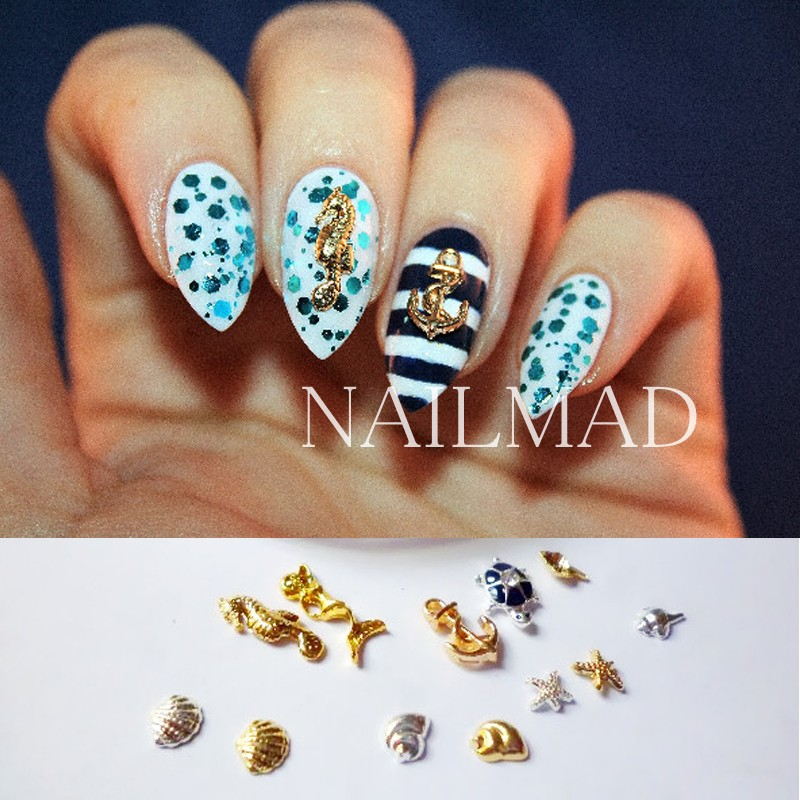 36Pcs Metal Sea Horse Shell Nail Studs Gold Silver Starfish 3D Nail Art  Decoration For UV Acrylic Nail Accessories in Wheel-in Rhinestones &  Decorations ... - 36Pcs Metal Sea Horse Shell Nail Studs Gold Silver Starfish 3D Nail