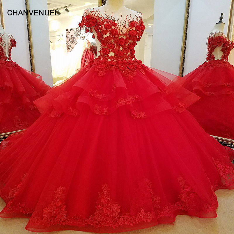 LS32710 Long Red Evening Dresses for Engagement Ball Gown 3D Flowers ...