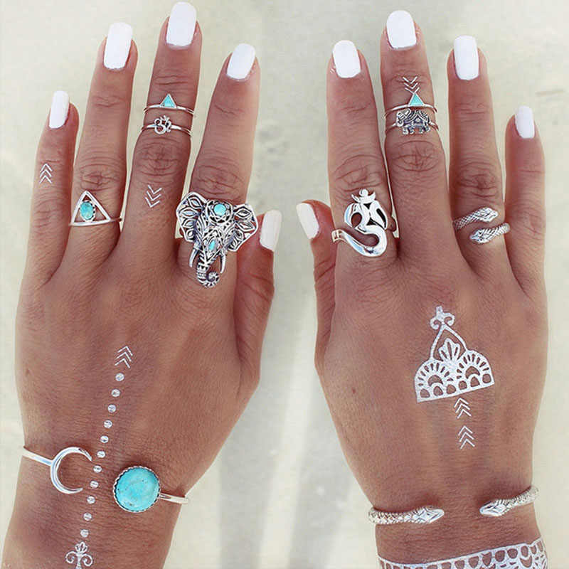 8pcs/Set Midi Ring Set Gold Color Silver Elephant Snake Blue Beads Triangle Charm Bohemian Knuckle Rings Women Girls Jewelry